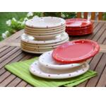 Keramika étkészlet 18 r. PIROS-FEHÉR