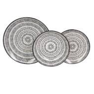 Pleiadi porcelán étkészlet 18 részes Fekete-Fehér