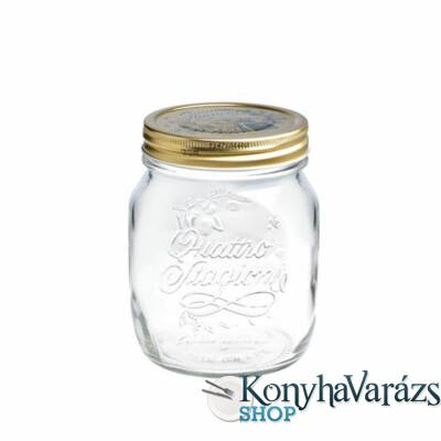 QUATTRO ÚJ tároló üveg+tető 0,7 l
