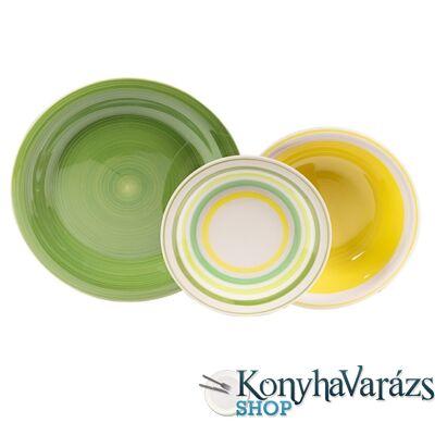 Kyklos kerámia étkészlet 18 részes Verde