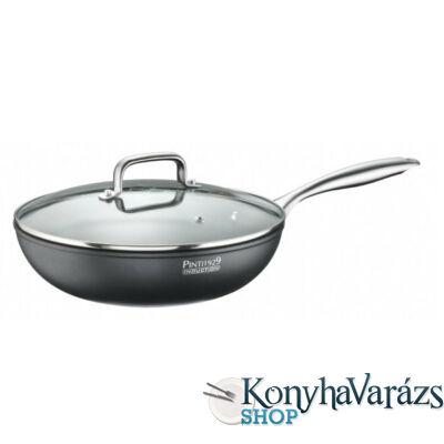 ST1 wok + fedő, kőhatású bevonattal 28 cm indukciós(Pintinox)