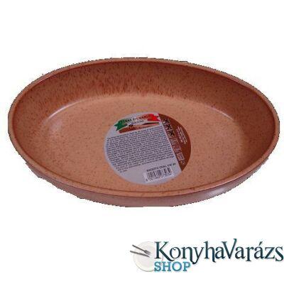 Cserép ovál sütőtál 35 cm /peremes/