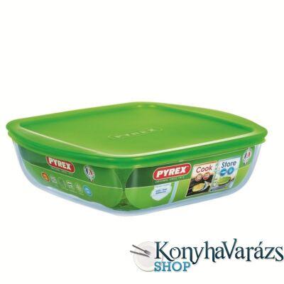 COOK&STORE szögl. sütőtál+műa.fedő 25x22 cm 2,2l