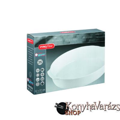 PYROFLAM ovál sütőtál 32x22 cm fehér