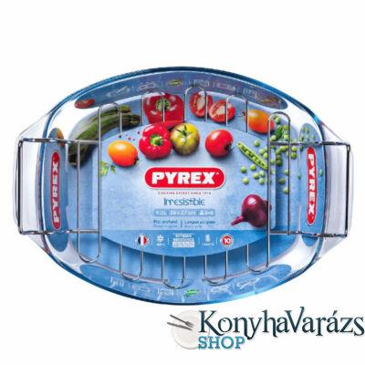 PYREX IRRES ovál sütőtál+fém grillrács 39x27cm 4l
