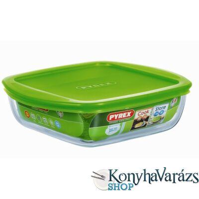 COOK&STORE szögl. sütőtál+műa.fedő 20x17 cm 1l