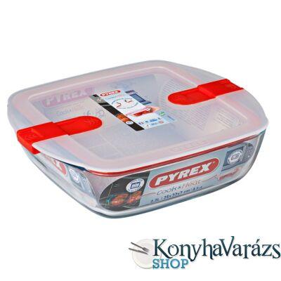 COOK&HEAT szögl.sütőtál+műa. tető 25x22x7 cm 2,2l