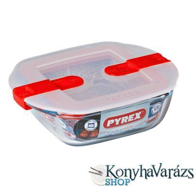 COOK&HEAT szögl.sütőtál+műa. tető 14x12x4 cm 0,35l