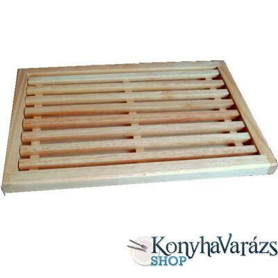 Fa kenyérvágó deszka+morzsatál 25x38x2,5 cm