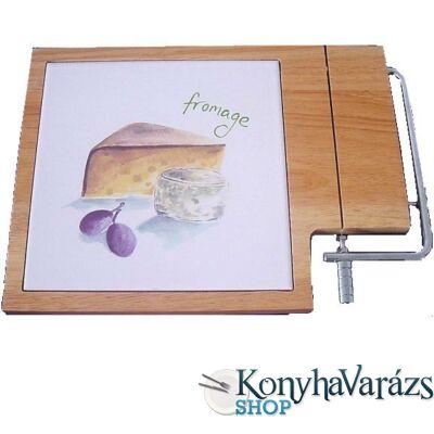Fa sajttál kerámia betétes+szeletelő 23x33x1,5 cm