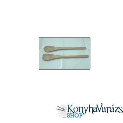 Fa salátás kanál+villa 25 cm /natúr/