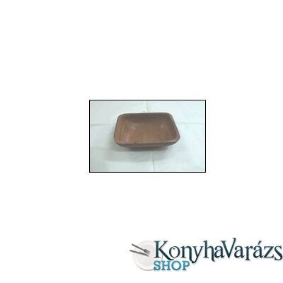 Fa kínálótál szögl. 15x15x5 cm s.barna