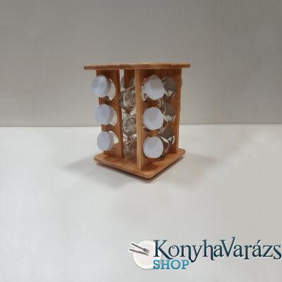 Fa asztali fűszertartó forgó állv. 12 db natur