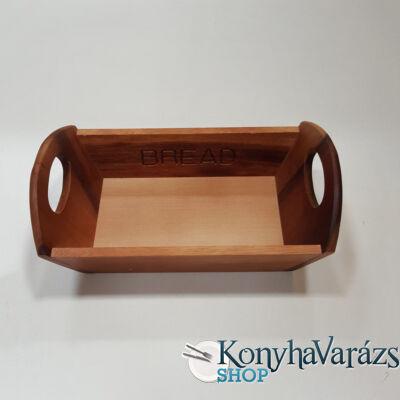 Fa asztali kenyérkosár szögletes 32x18x10 cm. sötét barna