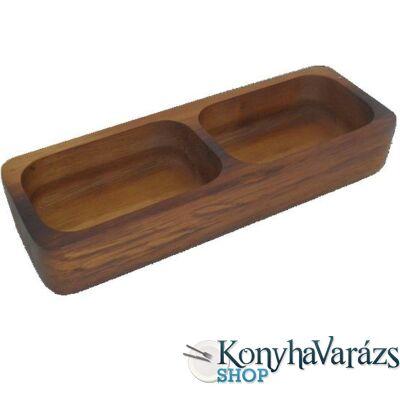 Fa asztali kínáló osztott 2 részes 9x26,5 cm.sötétbarna