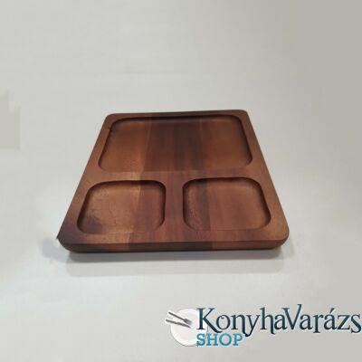 Fa asztali kínáló szögletes 20x26x2 cm. osztott