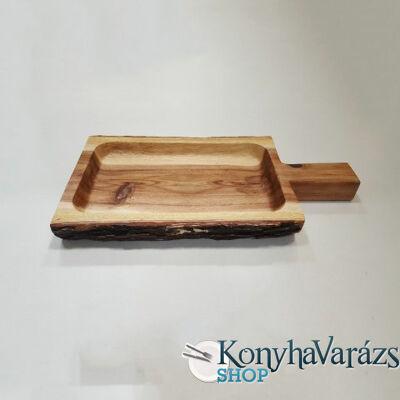 Fa asztali kínáló szögletes nyeles 21x40x4,5 cm.