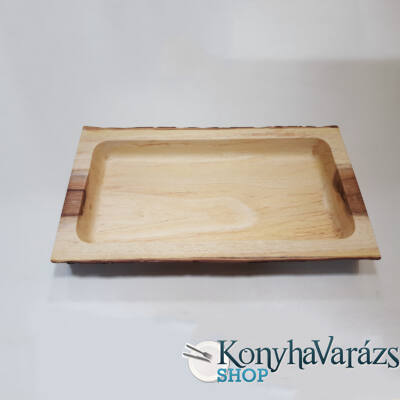 Fa asztali kínáló szögletes 21x40x4,5 cm.