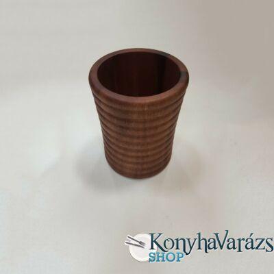 Fa asztali evőeszköztartó henger, bordázott 11,5x15 cm.
