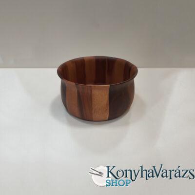 Fa asztali kínáló tál kerek 24,5x13 cm.