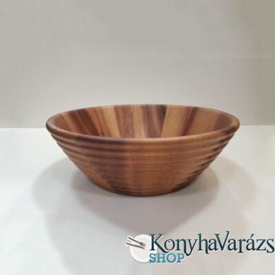 Fa asztali kínáló tál bordázott kerek 30x10 cm.