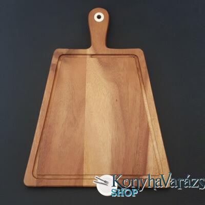 Fa vágódeszka 30x40x1,5 cm.nyeles,trapéz