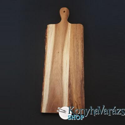 Fa vágódeszka 17x46x2 cm.nyeles,csíkos