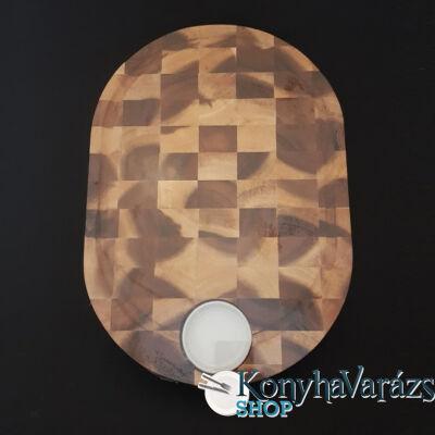 Fa vágódeszka + porcelán tálka 28x40x3,5 cm.