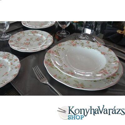 LA BONITA ker. étkészlet 18r. rózsaszín virág