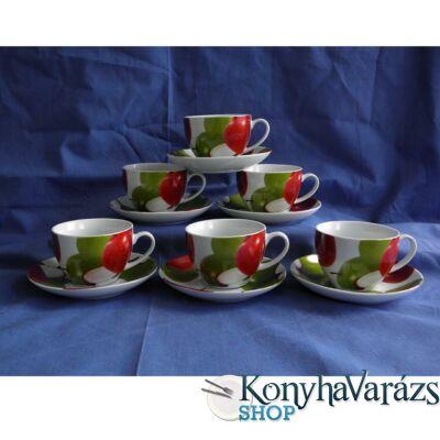 Porc.teás csésze+alj 25cl 6db /gyümölcs/