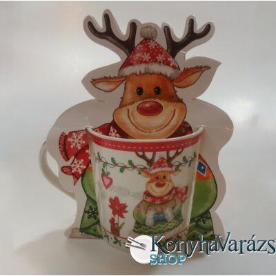 Karácsonyi porc. bögre 34cl bliszteres SZARVAS