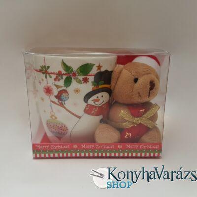 Karácsonyi porc.bögre 38cl PVC dobozban+PLÜSS MACI