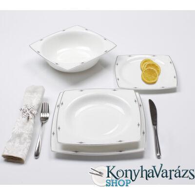 Zlahya platinum szögletes porcelán étkészlet 19 részes