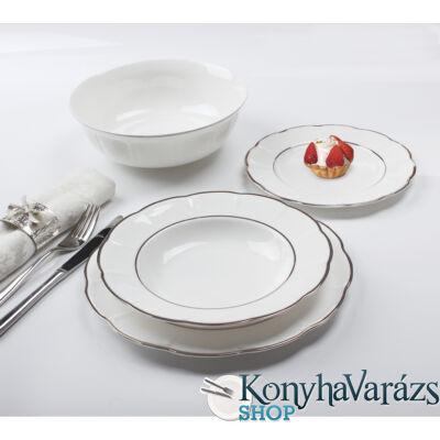 Zlahya platinum kerek porcelán étkészlet 19 részes