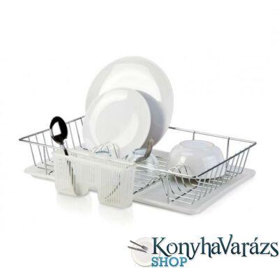 Fém edényszárító + műanyag alátét + műanyag evőeszköztartó