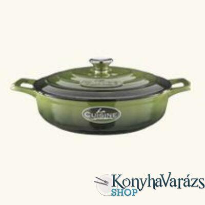 GREEN önt.vas kerek sütőtál 2 fülű 28cx8 cm 3,5l+fedő krém belső
