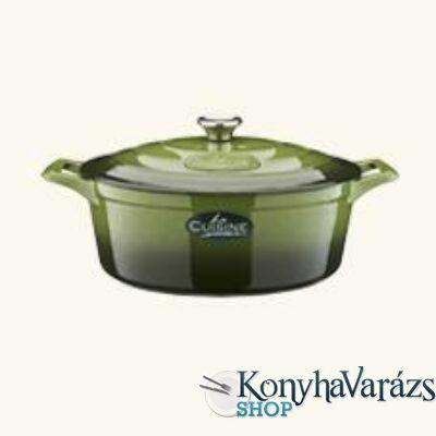 GREEN öntöttvas ovál sütőtál 29cm+4,75 L + fedő krém belső