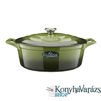GREEN önt.vas ovál sütőtál 29x11 cm  4,75l+fedő krém belső