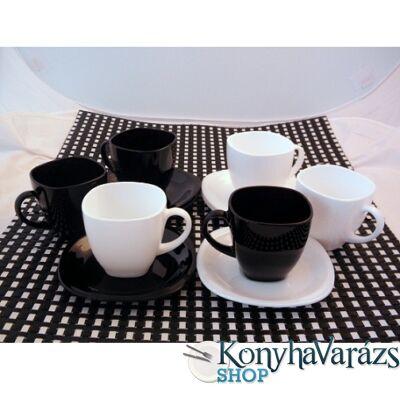 CARINE teás klt. 22 cl 6 db/fekete-fehér
