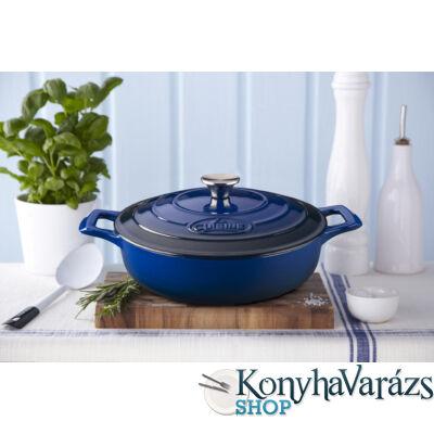 BLUE önt.vas kerek sütőtál 2 fülű 28cm 3,5l+fedő