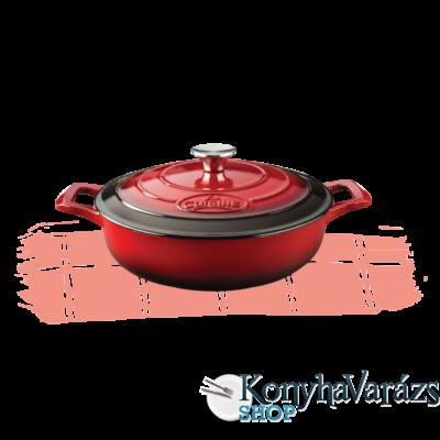 RUBY-Piros önt.vas kerek sütőtál 2 fülű 28cm 3,5l+fedő